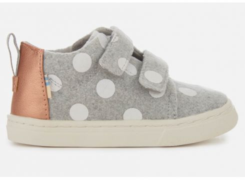 TOMS Toddlers\' Lenny Felt Polka Dot Mid Trainers - Drizzle Grey - UK 1.5 Toddler - Grau(58374870)