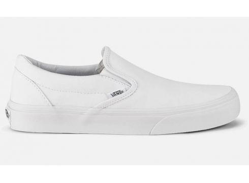 Vans Classic Slip-On Canvas Trainers - True White - UK 4 - Weiß(50496573)
