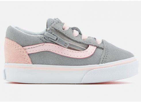 Vans Toddlers\' Old Skool Zip Suede Trainers - Alloy/Heavenly Pink/True White - UK 2 Toddler - Grau(58374814)