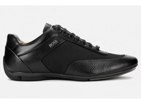 BOSS Men\'s Racing Leather Low Profile Trainers - Black - UK 7 - Schwarz(89038856)