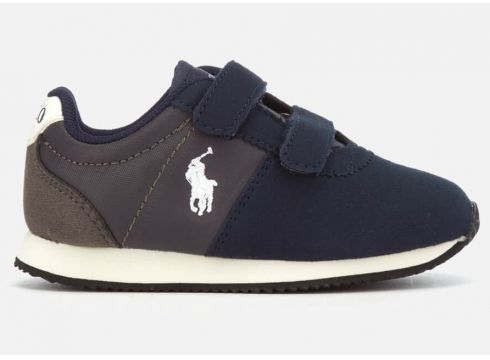 Polo Ralph Lauren Toddlers\' Brightwood EZ Velcro Runner Style Trainers - Navy/Charcoal - UK 3.5 Toddler - Navy/Charcoal(62388516)