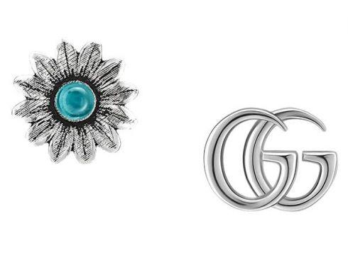 Gucci puces d\'oreilles à forme Double G et fleur - Métallisé(65472258)