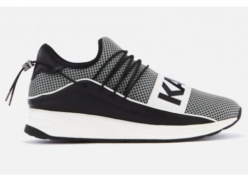 Karl Lagerfeld Men\'s Vektor Karl Band Net Runner Style Trainers - Black/White - UK 7 - Black/White(68699860)