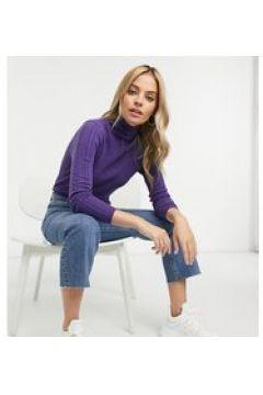 Fashion Union Petite - Maglione accollato con motivo a trecce-Blu(123223440)