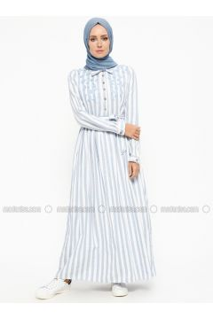 Blue - Stripe - Point Collar - Fully Lined - Cotton - Dresses - SUEM(110315270)