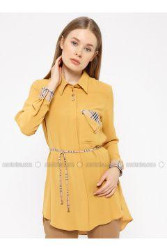 Yellow - Plaid - Point Collar - Tunic - REPP(110339133)