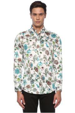 Etro Erkek Beyaz Polo Yaka Çiçek Desenli Gömlek 38 IT(120498275)