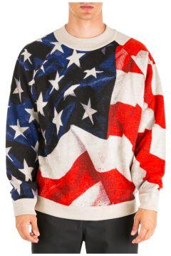 Men's crew neck neckline jumper sweater pullover american flag oversize fit(116789148)
