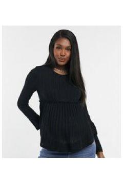 New Look Maternity - Top peplo in maglia nera-Nero(123896744)