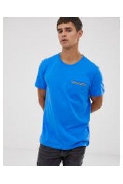 Esprit - T-Shirt mit verzierter Tasche in Blau - Blau(83095382)