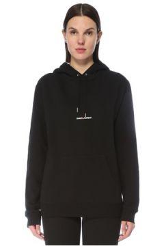 Saint Laurent Kadın Siyah Kapüşonlu Logo Detaylı Sweatshirt S EU(128051932)