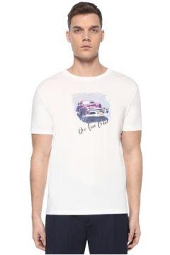 Lardini Erkek Beyaz Araba Baskılı Slogan Detaylı T-shirt M EU(107373324)