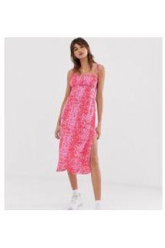 Reclaimed Vintage inspired - Midi-Camisole-Kleid mit Tierfellmuster - Rosa(95029483)
