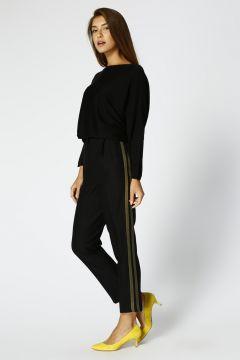 Black Pepper Kadın Normal Paça Siyah Pantolon(113965345)