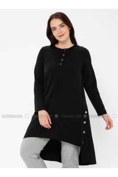 Black - Crew neck - Plus Size Tunic - İVRİZ(110339207)