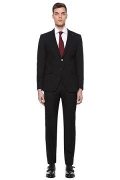 Isaia Erkek Drop 8 Siyah Kelebek Yaka Yün Takım Elbise 58 IT(109265176)