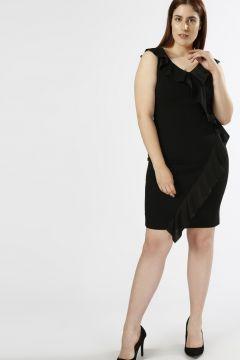 Ekol Fırfırlı Siyah Elbise(113961740)