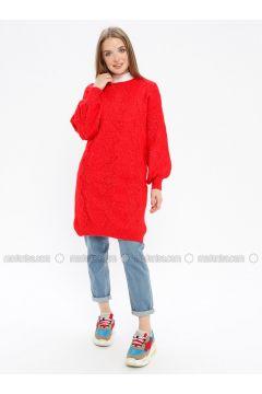 Red - Crew neck - Acrylic -- Knitwear - REPP(110337633)