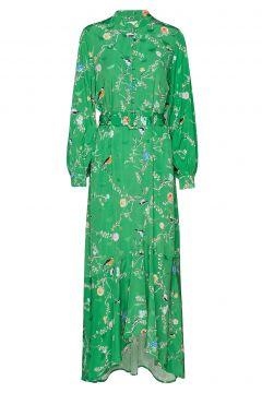 Long Dress W. Belt In Birdprint Maxikleid Partykleid Grün COSTER COPENHAGEN(114163270)