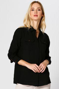 Pierre Cardin Omuz Detaylı Siyah Gömlek(125086496)