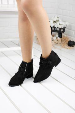 Ayakland Kadın Siyah Günlük 3 cm Topuk Süet Bot Ayakkabı 631-05(121599494)