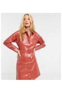 Fashion Union - Vestito chemisier corto con cintura in ecopelle PU-Arancione(122408243)