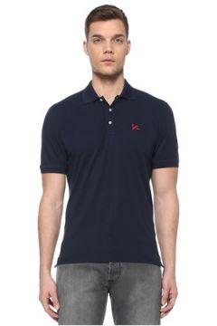 Isaia Erkek Lacivert Polo Yaka Logolu T-shirt L EU(107864069)