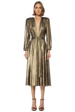 Maria Lucia Hohan Kadın Zaila Gold V Yaka Midi Kokteyl Elbise Altın Rengi 36 FR(122066297)
