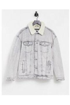 Bershka - Giacca di jeans trucker lavaggio acido grigio con colletto in pile borg(127287849)