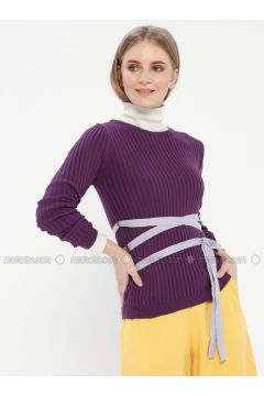 Purple - Crew neck - Acrylic -- Jumper - Kaktüs(110327770)