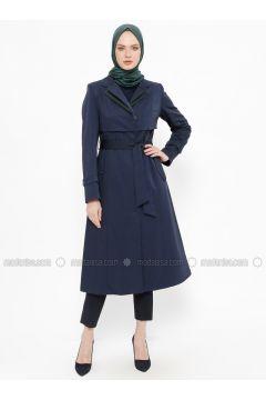 Navy Blue - Fully Lined - Shawl Collar - Topcoat - Tekbir(110335684)