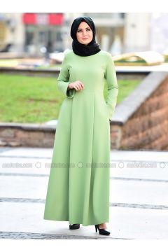 Green - Crew neck - Viscose - Dresses - Nurgül Çakır(110335041)