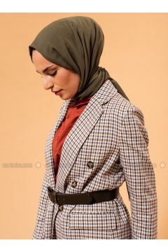 Green - Beige - Tan - Plaid - Unlined - Shawl Collar - Wool Blend - Cotton - Jacket - Liolle(110315526)