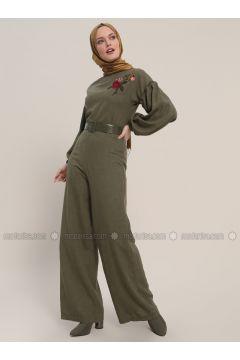 Khaki - Unlined - Crew neck - Cotton - Jumpsuit - Refka(110317020)