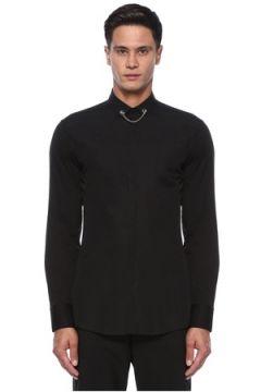Neil Barrett Erkek Siyah Yakası Metal Barlı Gömlek 40 IT(121108192)