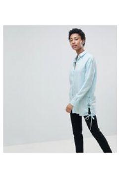 Noisy May Tall - Langes Shirt mit Bindedetail - Blau(83084167)