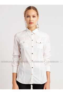 White - Point Collar - Blouses - NG Style(110341199)