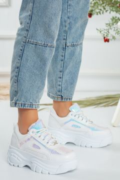 Favi Kadın Beyaz Kalın Taban Spor Ayakkabı(118647170)