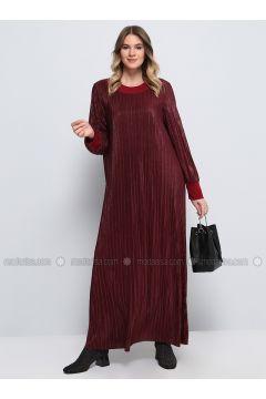 Maroon - Fully Lined - Crew neck - Muslim Plus Size Evening Dress - Alia(110326832)