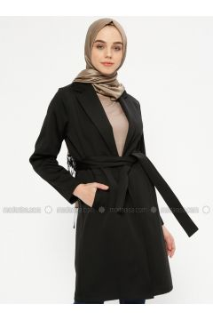 Black - Unlined - Shawl Collar - Cotton - Trench Coat - Meys(110337127)