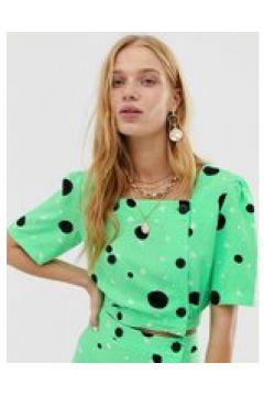 Reclaimed Vintage Inspired - Top da giorno con bottoni a fiorellini e pois in coordinato-Verde(120374451)