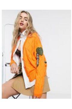 Love Moschino - Cardigan in maglia a rombi arancione con logo(121731614)