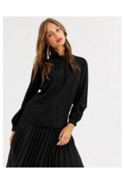 Closet London - Bluse aus schwarzem Satin mit Kragen und Ballonärmeln - Schwarz(94965122)