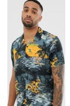 Jacamo - Hemd mit Reverskragen und tropischem Muster - Schwarz(90474033)