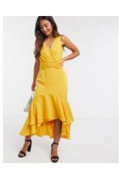 Forever New - Vestito midi asimmetrico allacciato sul retro con cintura giallo senape(120328974)