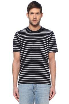 Brunello Cucinelli Erkek Lacivert Beyaz Çizgi Desenli T-shirt 54 IT(128052006)