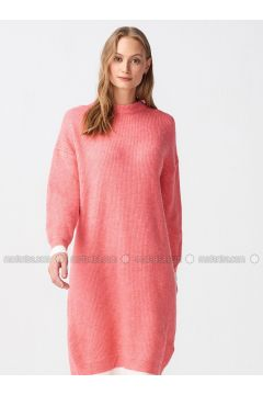 Pink - Ecru - Crew neck - Unlined -- Dresses - Dilvin(110327591)
