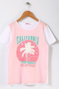 Pink&Orange Çocuk Palmiye Baskılı Pembe T-Shırt(113957739)