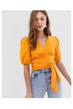 Mango - Orange Wickelbluse mit Taillenband - Orange(95032960)