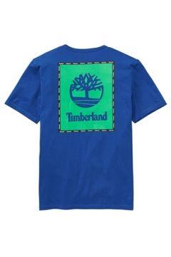 Timberland Erkek Box Logo Graphic Mavi Organik Pamuk T-shirt S EU(113464617)